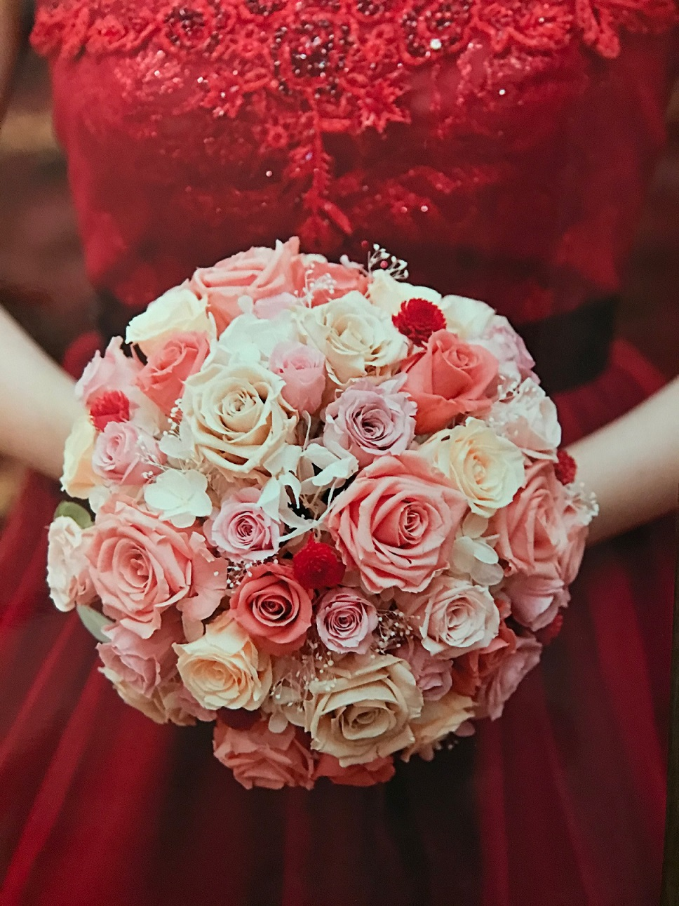 Preserved Bouquet with red dress